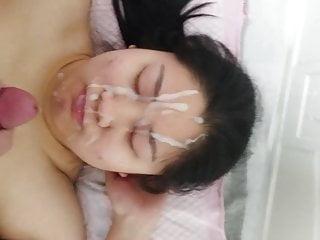 Amateur Asian facial